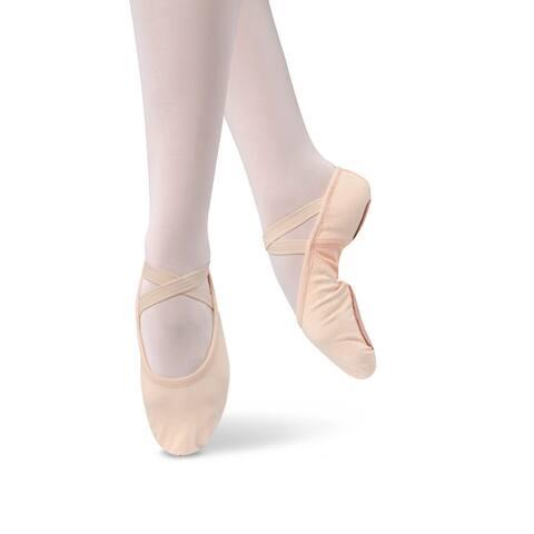 Danshuz Girls Pink Stretch Canvas Split Sole Ballet Shoes 10 Toddler-2.5 Kids