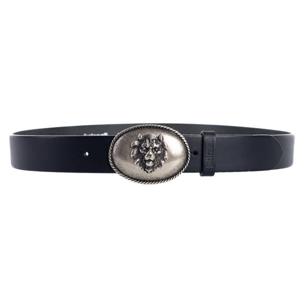 Roberto Cavalli Just Cavalli Black Lion Head Silver Buckle