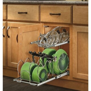 "Rev-A-Shelf 5CW2-1222SC 5CW2 Series 11.75"" Wide Two Tier Pull Out Cookware Organizer with Soft Close Slides for 12"" Base Cabinet"
