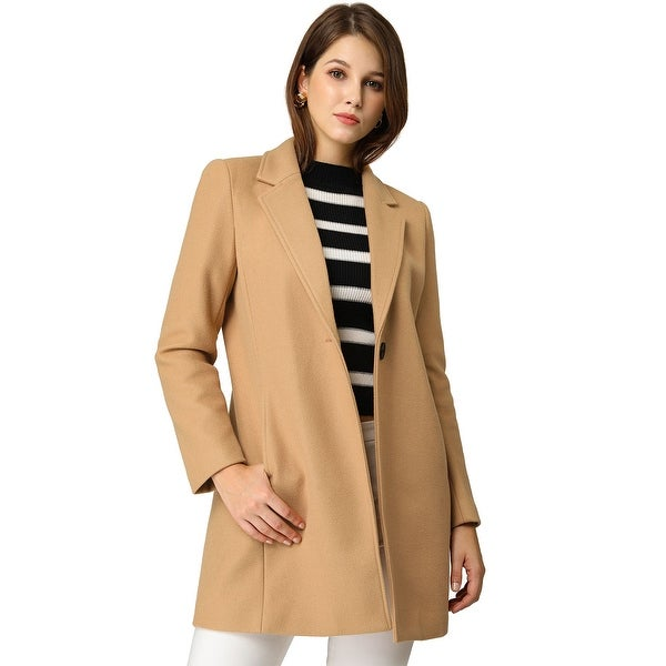 Women's Notched Lapel Button Closure Trench Coat Outwear