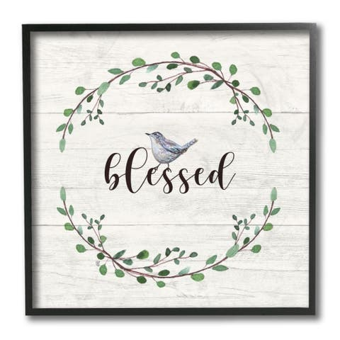 Stupell Industries Charming Blessed Phrase Blue Bird and Wreath Framed Wall Art