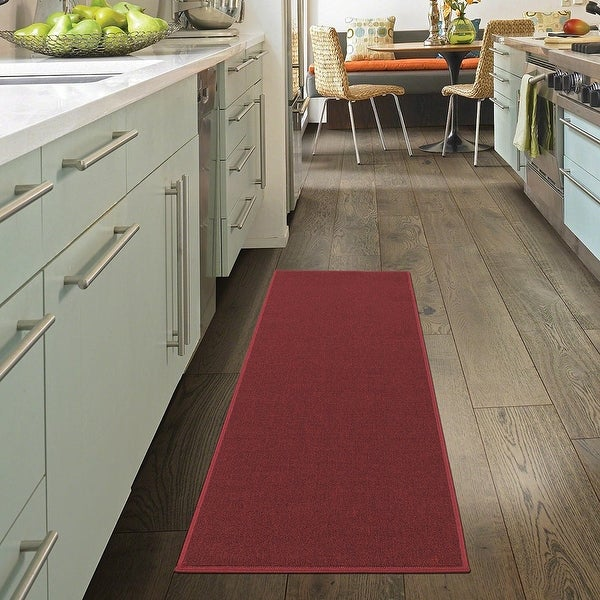 Ottomanson Oscar Collection Anti-Slip Solid Color Runner Rug. Opens flyout.