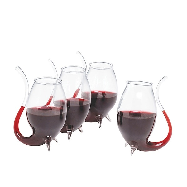 Porto Pipe Sippers - Set of Four Wine Glasses with Built In Straws