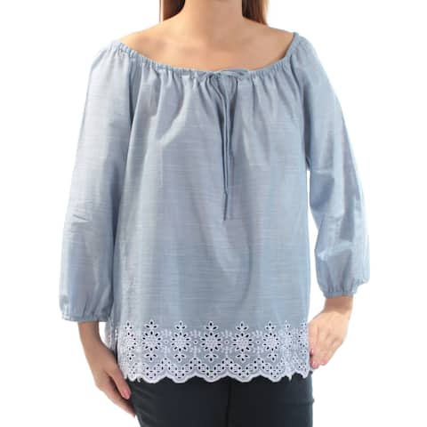 NYDJ Womens Blue Eyelet Embroidered Long Sleeve Off Shoulder Blouse Top Size: L