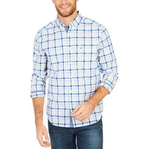 Nautica Blue Mens Size Large L Plaid Classic Fit Button Down Shirt