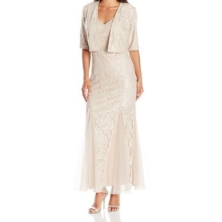 Alex Evenings NEW Beige Womens Size 6P Petite 2 Piece Sheath Dress
