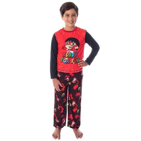 Ryan's World Boys' Ready For Fun Raglan Shirt And Pants 2 PC Pajama Set