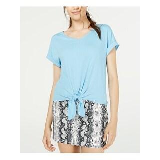 HIPPIE ROSE Womens Light Blue Ribbed Short Sleeve V Neck Top  Size L