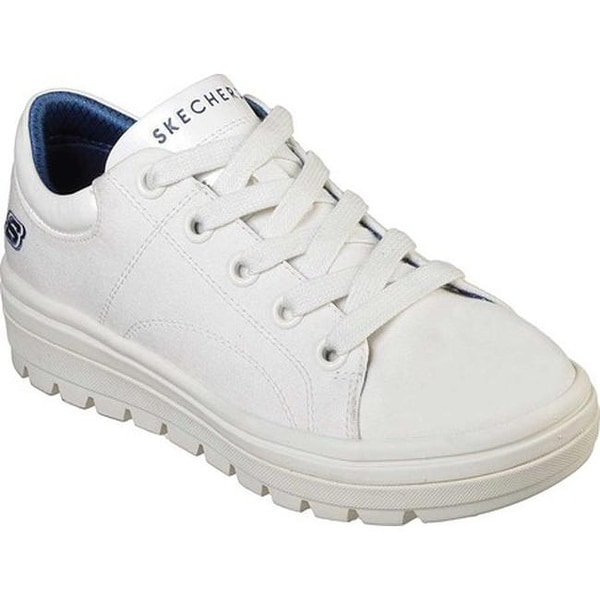 Womens Skechers Street Cleat Bring It Back All White Classic Trainers Sz Size