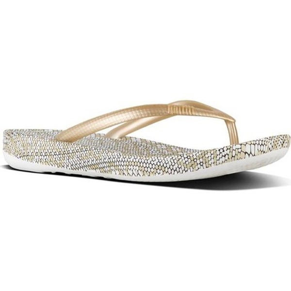 90d7548dfc9f FitFlop Women  x27 s iQushion Ergonomic Flip-Flop Gold Mix Snake Print