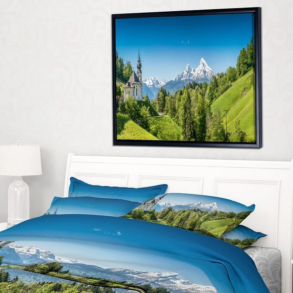 Designart Green Mountain View Of Bavarian Alps Landscape Framed Canvas Art Print Overstock 18961231
