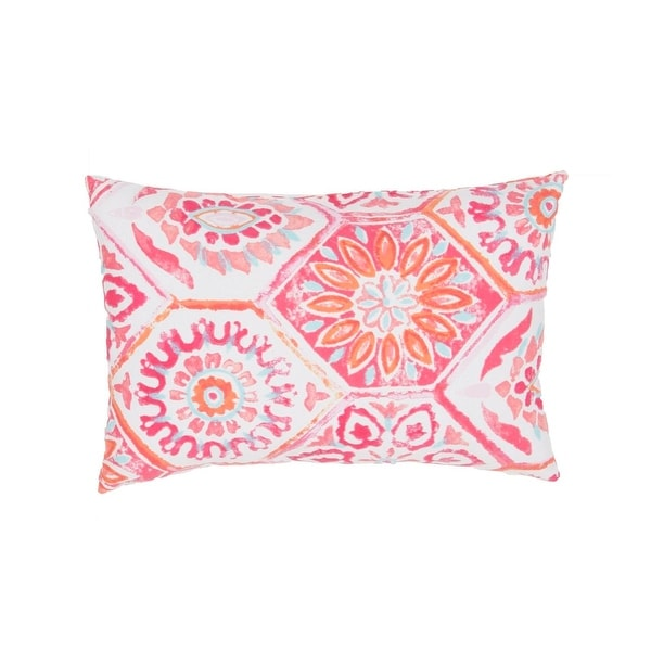 18'' Hot Pink, Baby Pink, Tomato Red, & Light Blue Floral Pattern Decorative Throw Pillow