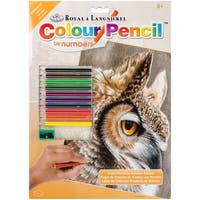 "Color Pencil By Number Kit 8.75""X11.75""-Sepia Owl"