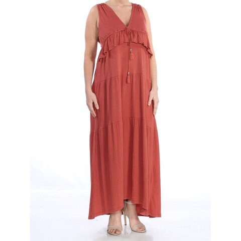 Sanctuary Red Womens Size XL Delphina Tiered V-Neck Maxi Dress