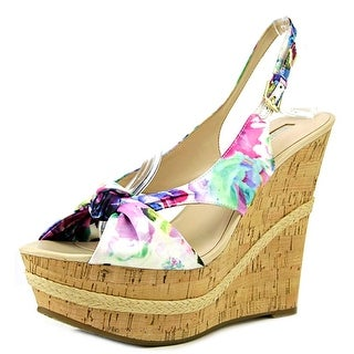 Guess Delilan Women Open Toe Canvas Multi Color Wedge Heel