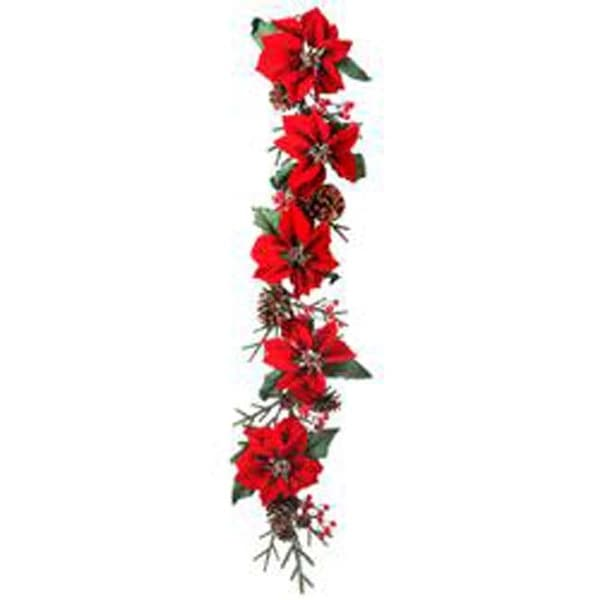 Red - Deluxe Velvet Poinsettia/Cone/Berry Garland 60""