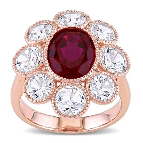 Miadora 10k Rose Gold Created Ruby and White Sapphire Flower Cocktail Ring