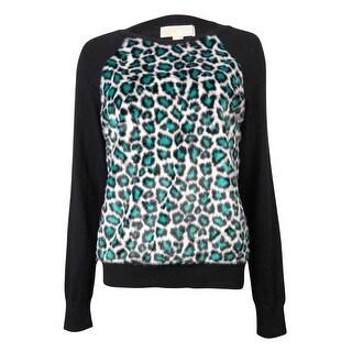 Michael Kors Women's Leopard Faux Fur Raglan Sweater