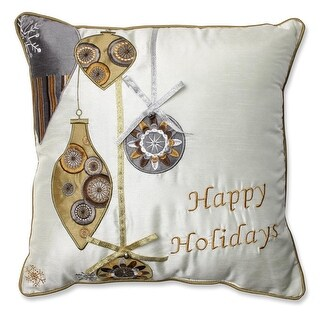 "16.5"" Gold and Silver Holiday Indoor Square Throw Pillow with Coordinating Trim"