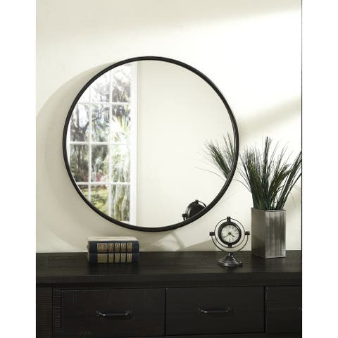 Copper Grove Encamp 30-inch Round Framed Wall Mirror