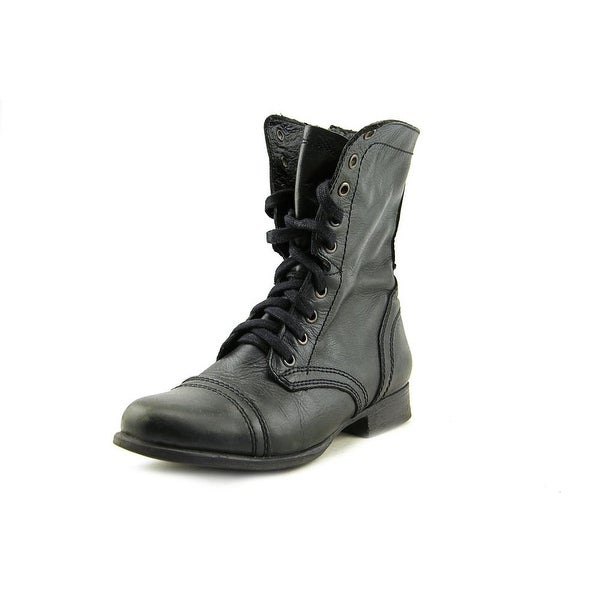 Steve Madden Troopa Women Round Toe Leather Black Boot
