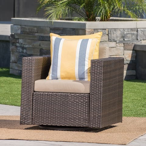 Puerta Outdoor Wicker Swivel Club Chair with Cushions by Christopher Knight Home