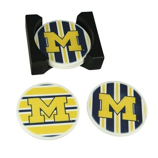 University of Michigan Wolverines 4 Piece Absorbent Coaster Set With Caddy - tellow