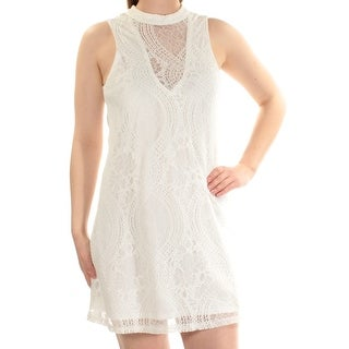 Womens Ivory Sleeveless Mini Shift Dress Size: M
