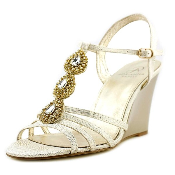 Adrianna Papell Lacee Women Open Toe Canvas Gold Wedge Sandal