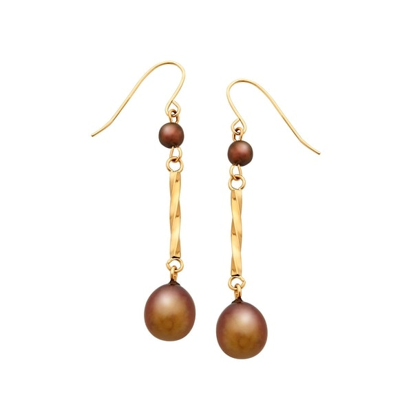 7 mm Chocolate Freshwater Pearl Drop Earrings in 14K Gold