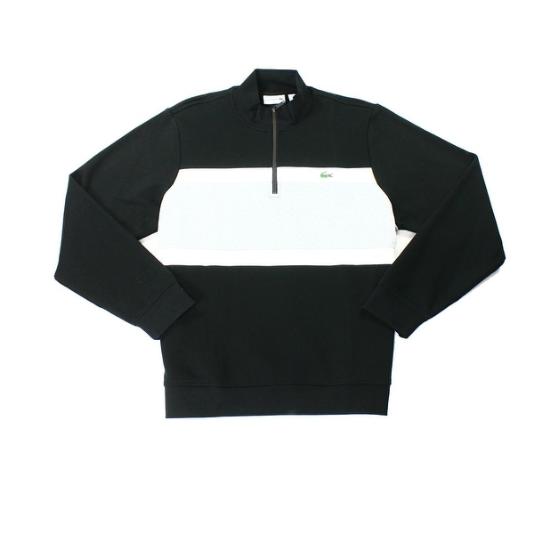 87feb078f Shop Lacoste NEW Black White Mens Size Large L 1 2 Zip Colorblock Sweater -  Free Shipping Today - Overstock - 19816338