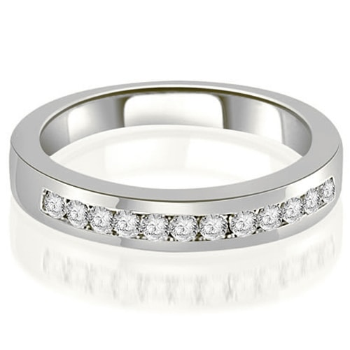 0.30 cttw. 14K White Gold Channel Set Round Cut Diamond Wedding Band
