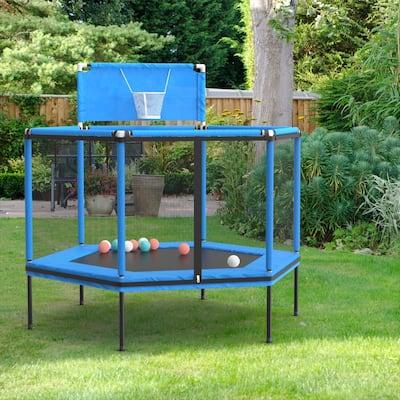 5' Round Kid Trampoline with Safety Enclosure