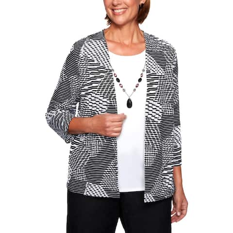 Alfred Dunner Womens Pullover Top Layered Printed - S