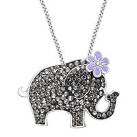 Crystaluxe Elephant Pendant with Swarovski Crystals in Sterling Silver - White