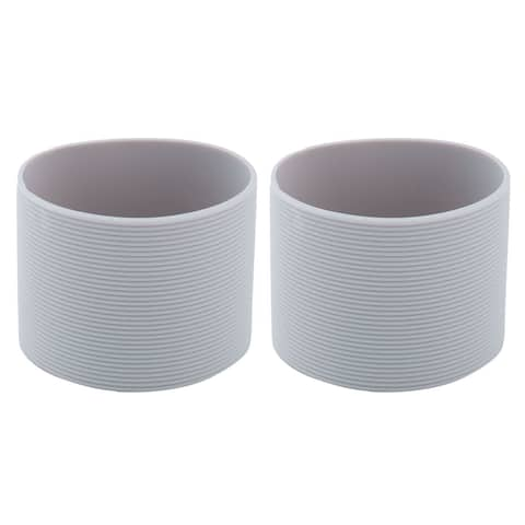 Silicone Heat Resistant Nonslip Reusable Bottle Cup Mug Cover Sleeve Gray 2pcs