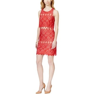 Kensie Womens Casual Dress Layered Rouge