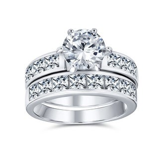 Link to 3CT Solitaire AAA CZ Band Engagement Wedding Ring Set Sterling Silver Similar Items in Rings