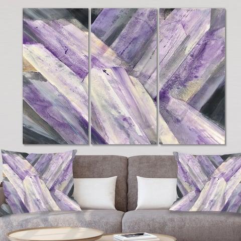 Designart 'Geometric Purple Glacier' Modern Farmhouse Canvas Wall Art