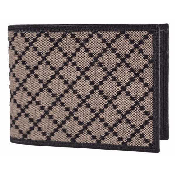 Gucci Men's 143384 Black & Beige Jacquard Diamante Bifold Coin Wallet - black|beige