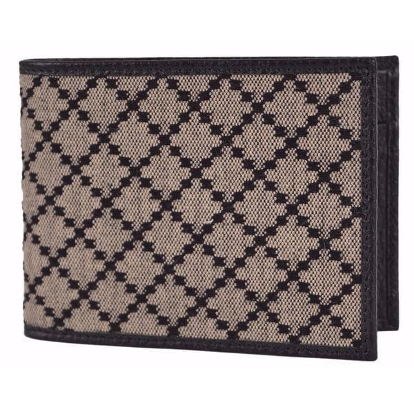 62ed6515e861 Gucci Men's 143384 Black & Beige Jacquard Diamante Bifold Coin  Wallet
