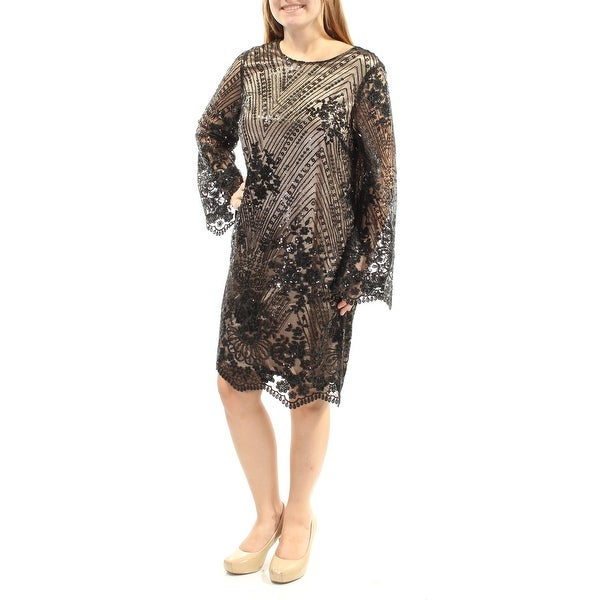 a7642d999f6c Shop TAHARI Womens Black Sequined Embroidered Floral Bell Sleeve Jewel Neck  Knee Length Shift Cocktail Dress Size: 4 - On Sale - Free Shipping On  Orders ...