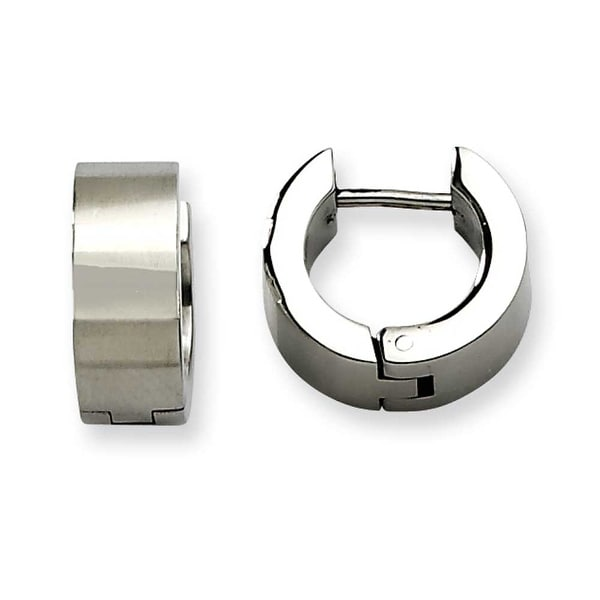 Chisel Stainless Steel Brushed & Polished Hinged Hoop Earrings