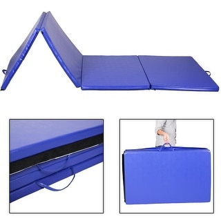 "Costway 4'x10'x2"" Folding Gymnastics Gym Exercise Mats Blue Stretching Yoga Mat Blue"