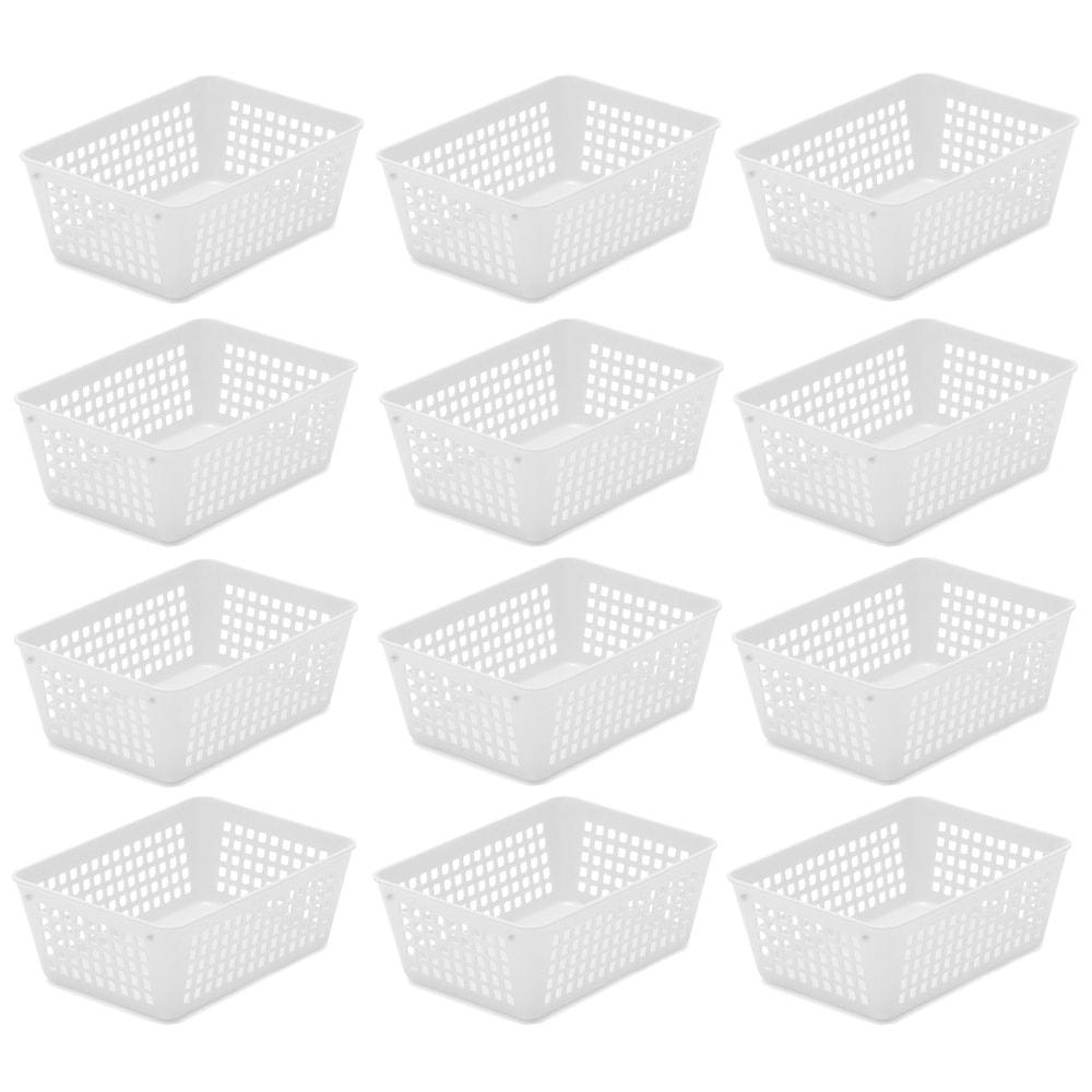 Tstorage Small Plastic Storage Baskets Black Transparent Grey 6 Pack