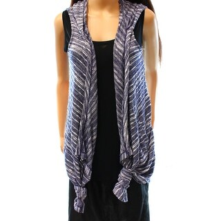 INC NEW Blue Women's Size Small S Hooded Vest Sleeveless Sweater