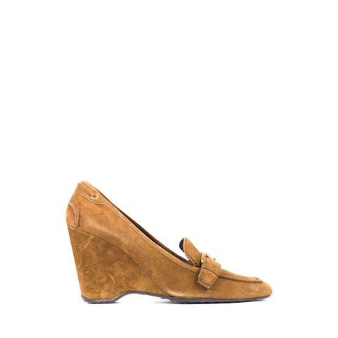 Car Shoe By Prada Women's Light Brown Suede Buckle Wedge Pumps 40/10 RTL$675