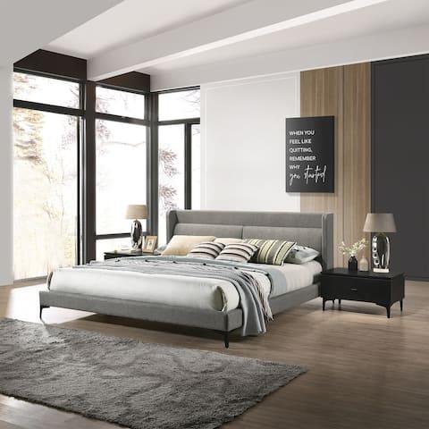 Legend 3 Piece Gray Fabric King Platform Bed and Nightstands Bedroom Set