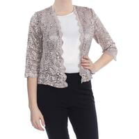 R&M RICHARDS Womens Beige Sequined Lace Jacket Petites  Size: 10