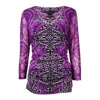 INC International Concepts Women's V-Neck Ruched Mesh Top - victorian scroll - ps